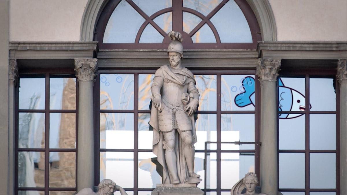 Il pesciolino Arturo visita gli Uffizi