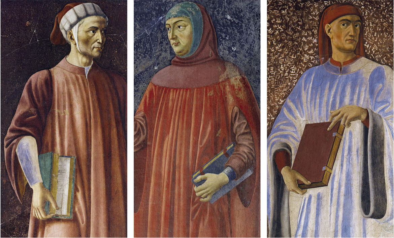 Dante Alighieri, Francesco Petrarca e Giovanni Boccaccio, padri della lingua fiorentina, negli affreschi di Andrea del Castagno per Villa Carducci.
