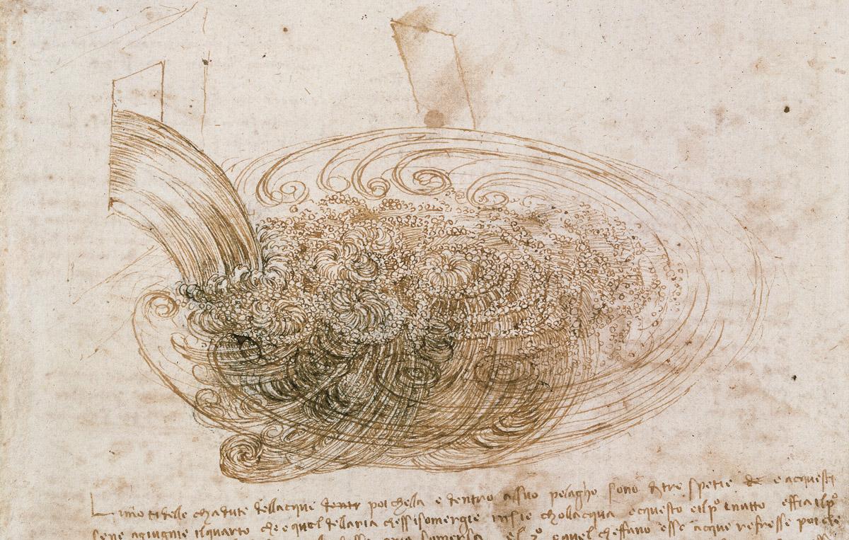 Leonardo, Studi di gorghi d'acqua, 1508-1510