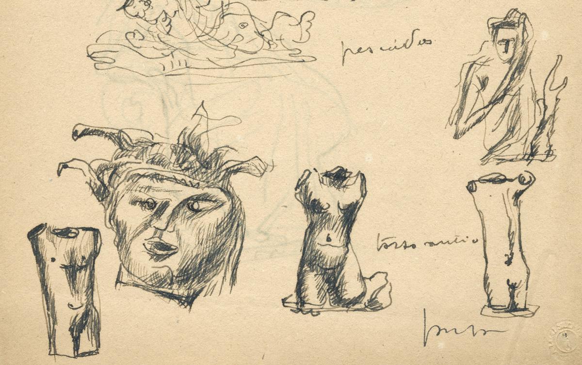 Lucio Fontana - Colombe, farfalle, pesci, torso antico e Medusa, particolare
