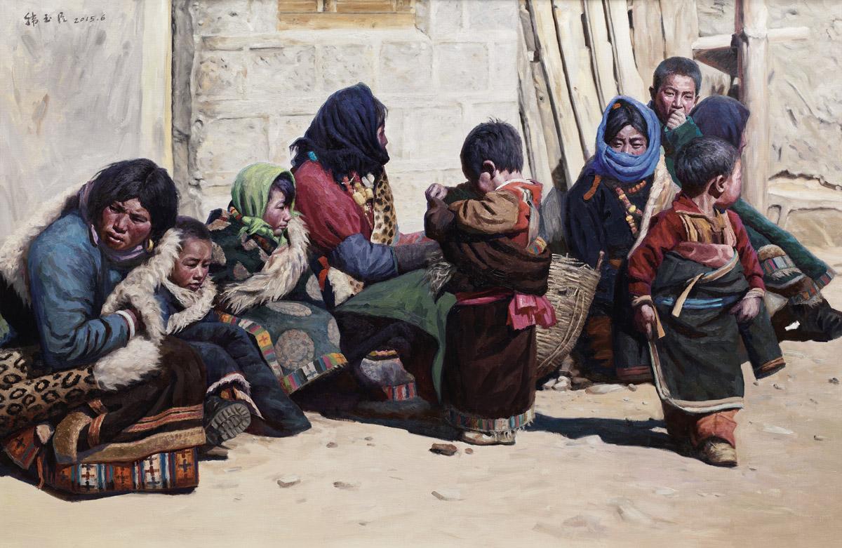 Han Yuchen, Sotto il sole, olio su tela, 2015