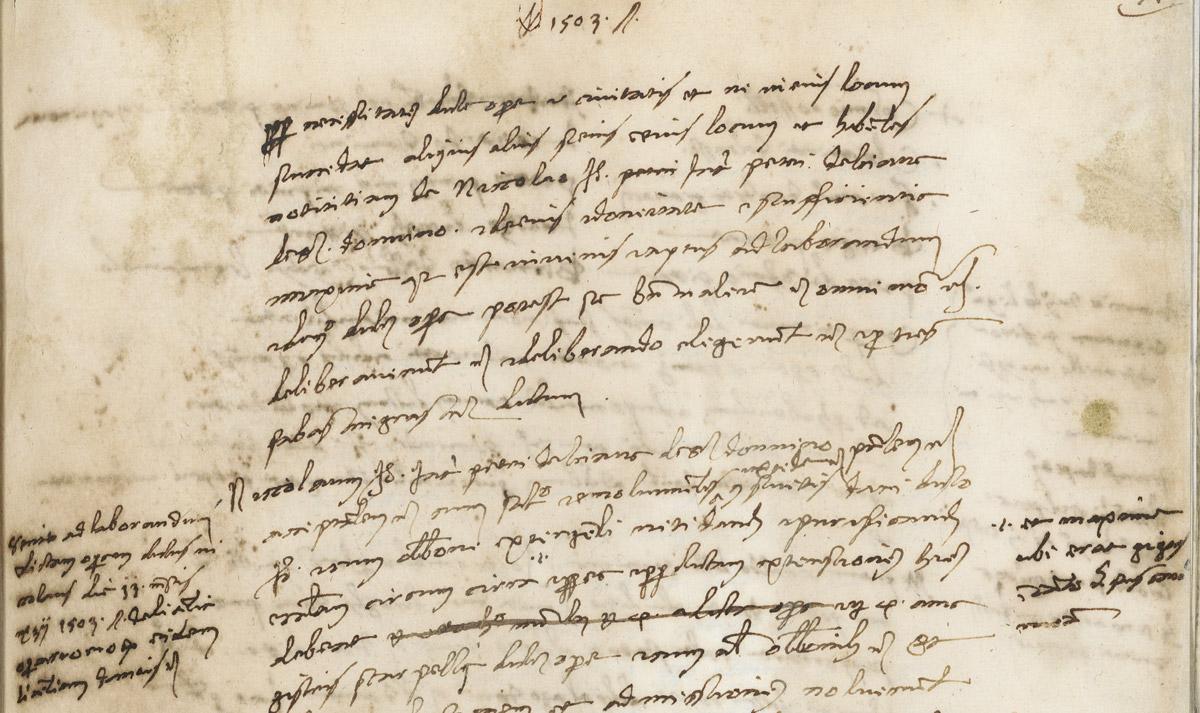 Pagina del verbale della commissione di esperti incaricata di esprimersi sulla collocazione del David di Michelangelo - 25 gennaio 1504