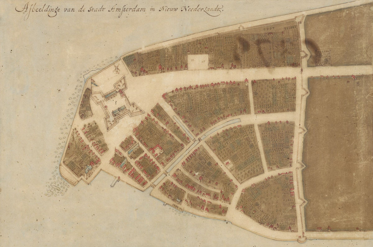 Pianta della città di Amsterdam (New York, già Nuova Amsterdam) nella Nieuw Neederlandt (Nuovi Paesi Bassi)