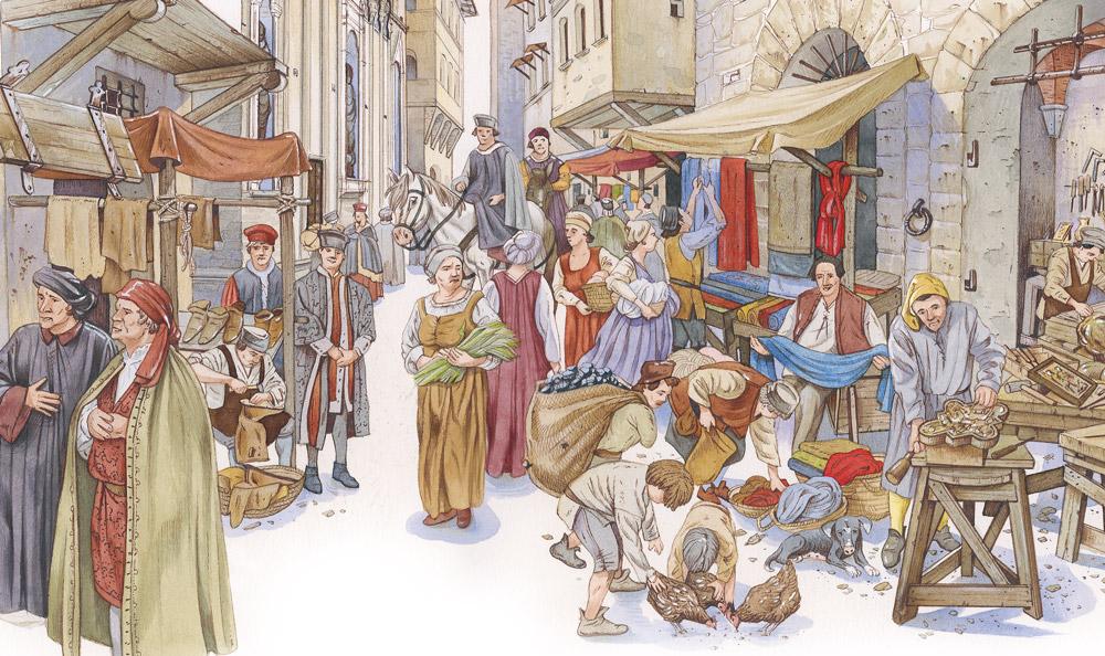 Andrea Orani, Via dei Calzaiuoli a Firenze nel Quattrocento