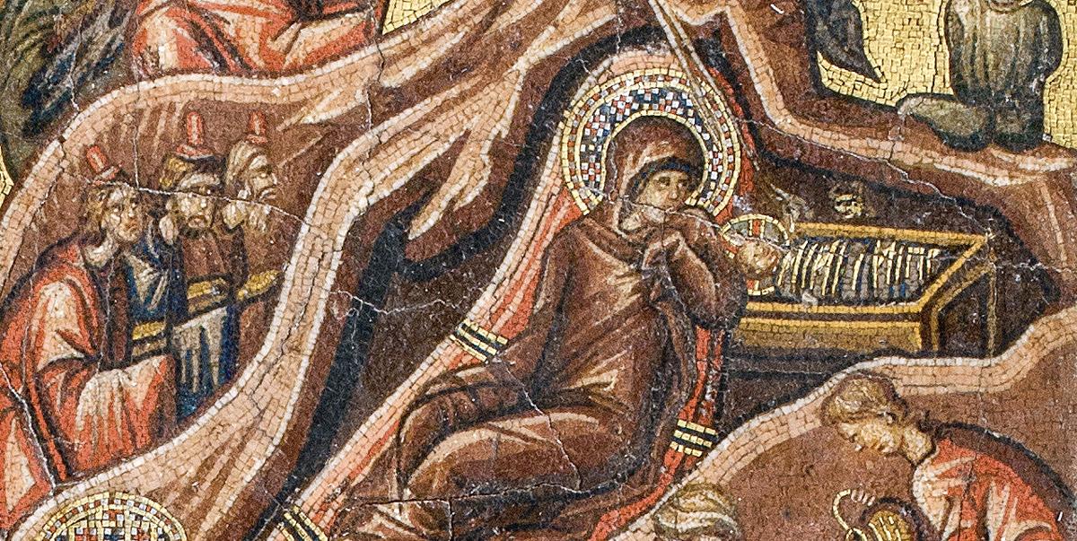 Dittico bizantino in micromosaico (tavola sinistra), Natività, particolare